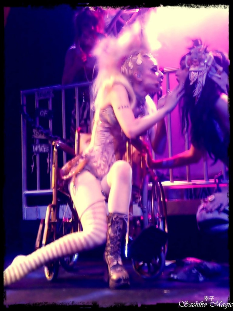 Emilie Autumn and Me on stage together.  Photo by Kira Coyote.