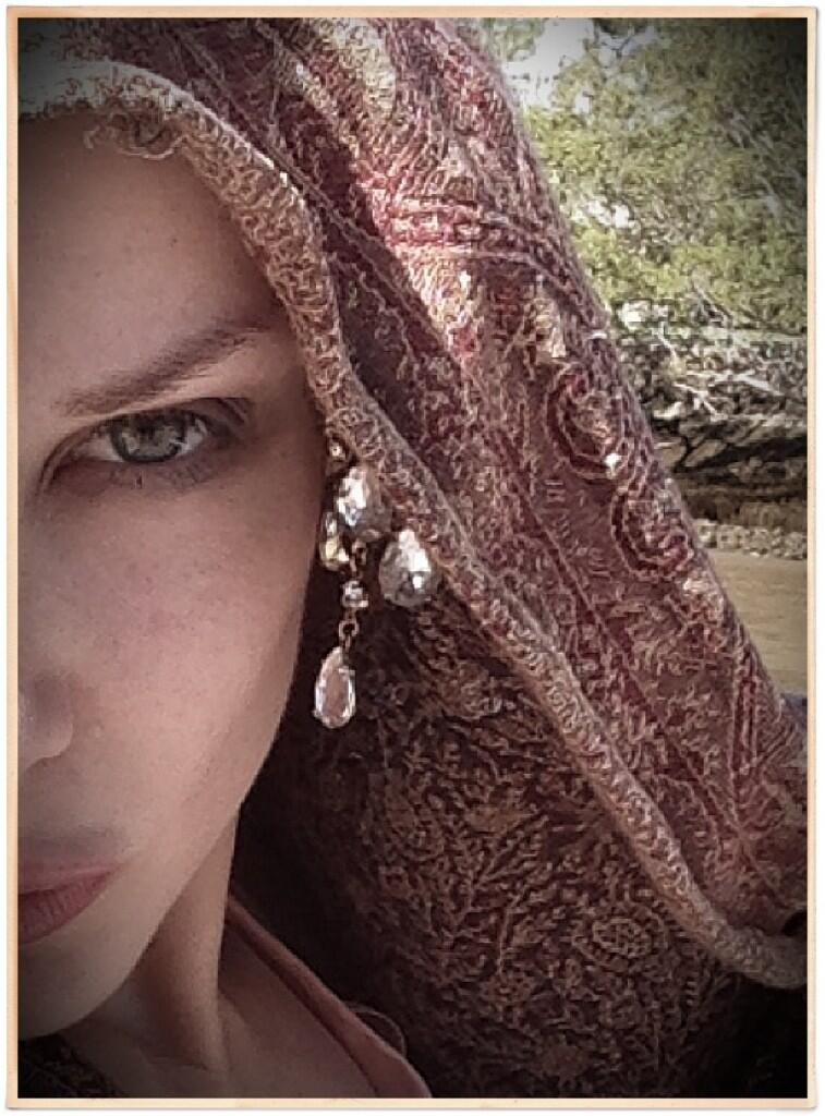 Emilie and her travel scarf.  Gorgeous!