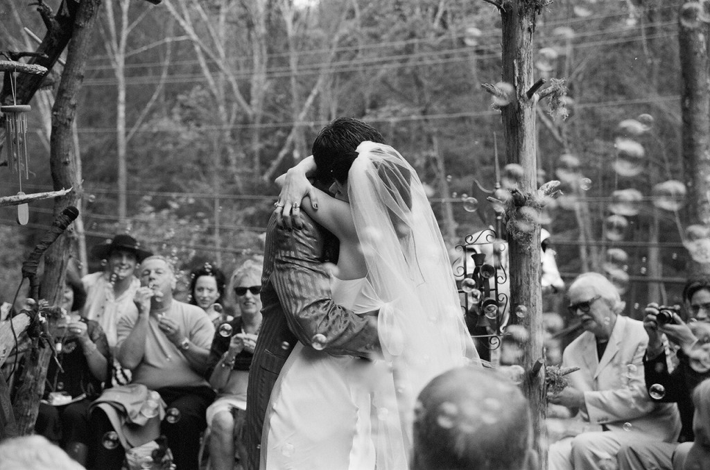 Right after our first kiss at our wedding, my Grandma Helen's bells are to the right of us.