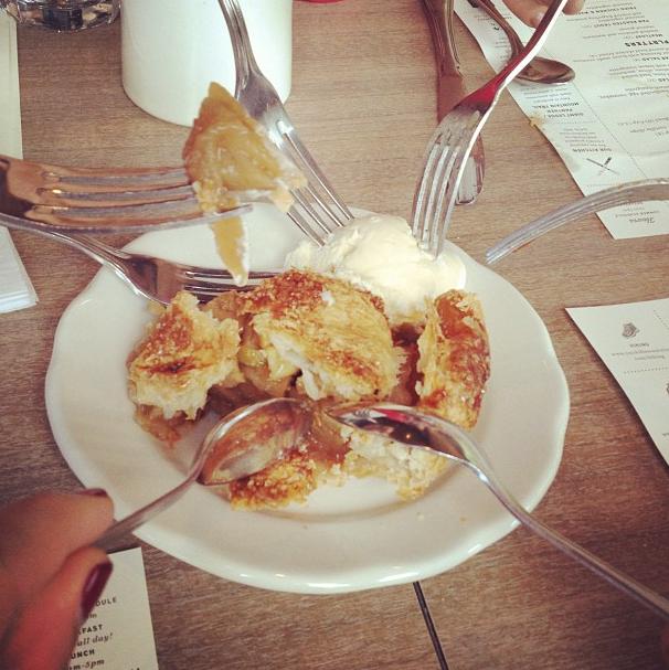 Six utensils in a free apple pie.  Always delicious.
