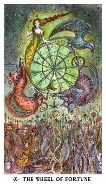 The Wheel of Fortune card from the Paulina Tarot Deck