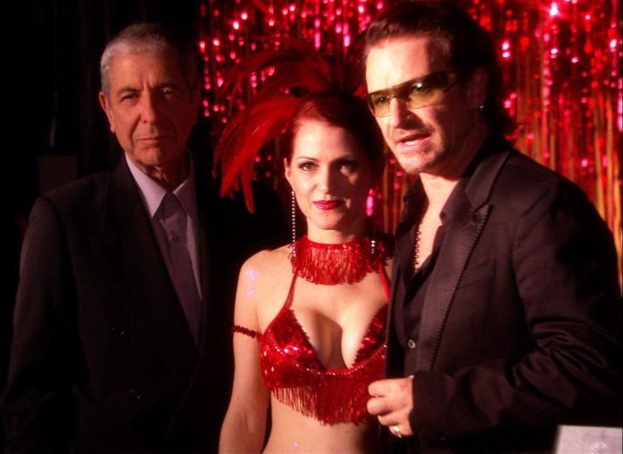 Jo Weldon chillin' with Leonard Cohen and Bono.  She's a bad ass.