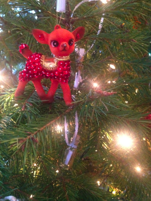 My Vintage 1960s deer ornament watches over the Solstice wishes.