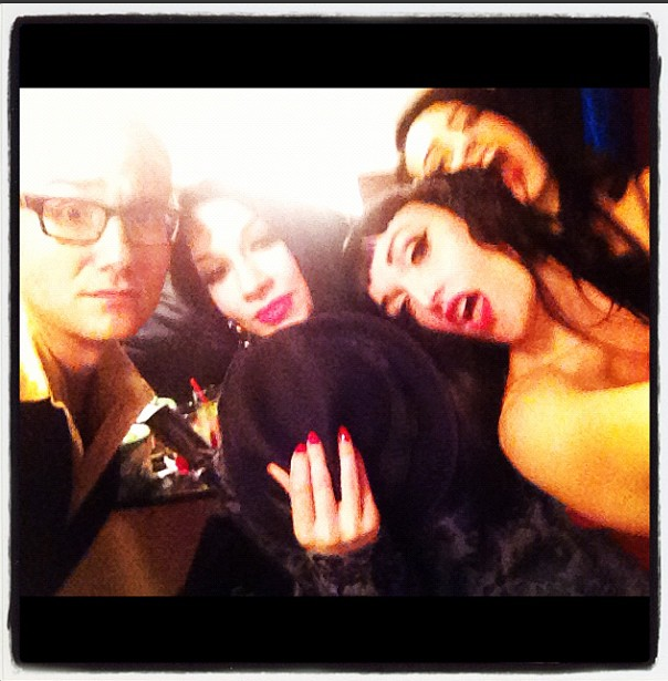 Moments away from going on stage - me and my wild burlesque family.